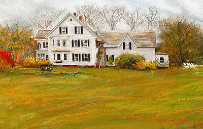 Autumn Scene Painting - Country Moments-farmhouse In Woodstock Vermont by Lourry Legarde
