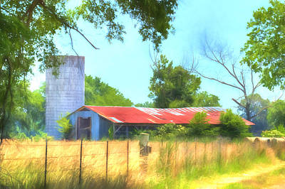 Photograph - Barn - Farm - Fence - Country Morning by Barry Jones