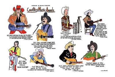 Award Drawing - Country Music Awards by Michael Crawford
