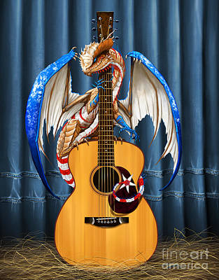 Country Music Dragon Art Print