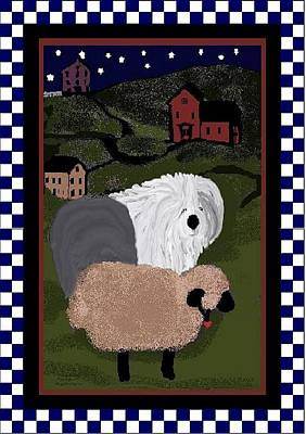 Mixed Media - Country Night Sheepdog by Cathy Howard