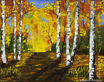 Painting - Country Road And Birch Teees Painting by Keith Webber Jr