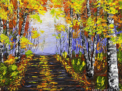 Pallete Knife Painting - Country Road And Birch Trees In Fall by Keith Webber Jr