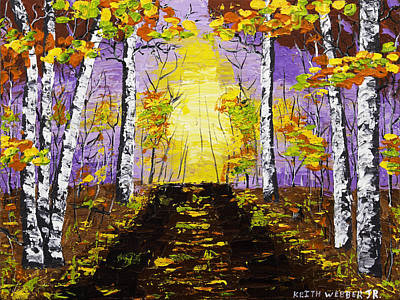 Pallete Knife Painting - Country Road And Coloful Birch Trees In Fall by Keith Webber Jr