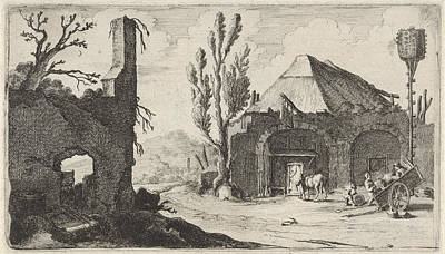 Old Barns Drawing - Country Road At A Ruin And An Inn, Gillis Van Scheyndel by Gillis Van Scheyndel (i)