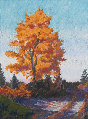 Painting - Country Road Cold Fall Morning by Robert Decker