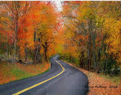 Art Print featuring the painting Country Road In Autumn by Bruce Nutting