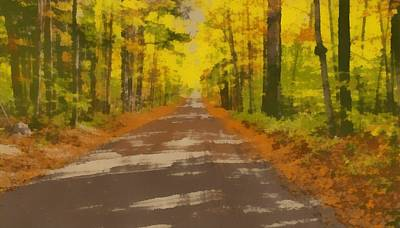 Dirt Roads Mixed Media - Country Road In Autumn by Dan Sproul