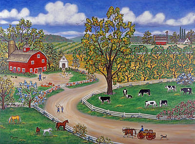 Cow Painting - Country Road by Linda Mears