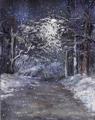 Painting - Country Road On A Wintery Night by Jack Skinner