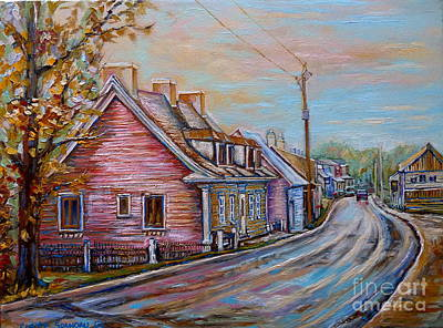 Street Scenes Painting - Country Road  Pink House by Carole Spandau