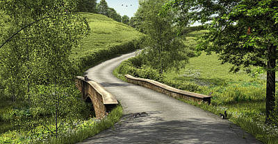 Digital Art - Country Road Stone Bridge by Walter Colvin