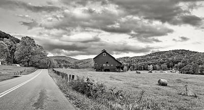 Rural Digital Art - Country Road...west Virginia Bw by Steve Harrington