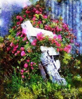Painting - Country Rose On A Fence 1 by Janine Riley