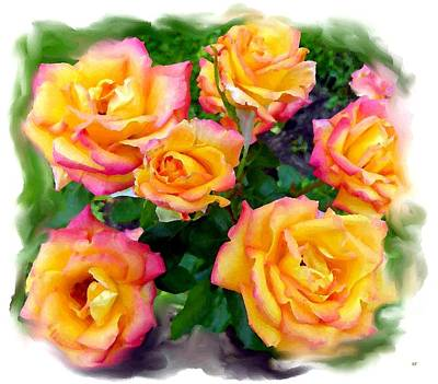 Floribunda Digital Art - Country Roses Watercolor by Will Borden