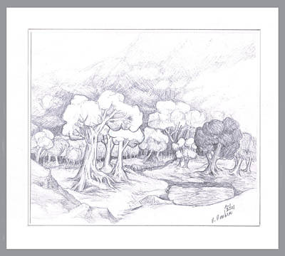 Drawing - Country Scene by Ruth Renshaw
