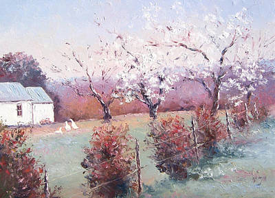 Geese Painting - Country Scene With White Blossom by Jan Matson