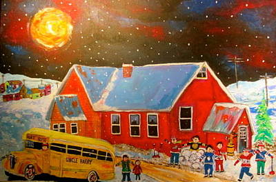 New Glasgow Painting - Country Schoolyard Memories by Michael Litvack