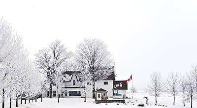 Country Side House In Canada Winter Time Art Print by Marek Poplawski