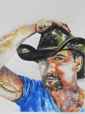 Tim Painting - Country Singer Tim Mcgraw 02 by Chrisann Ellis