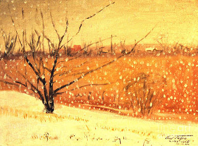 Painting - Country Snow Fall by Art By Tolpo Collection