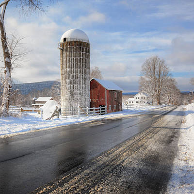 Barns In Snow Photograph - Country Snow Square by Bill Wakeley