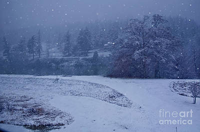 Print featuring the photograph Country Snowstorm Landscape Art Prints by Valerie Garner
