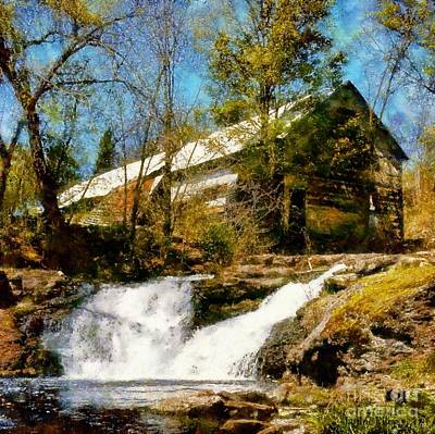 Photograph - Country Spring Waterfalls By The Old White Barn by Janine Riley