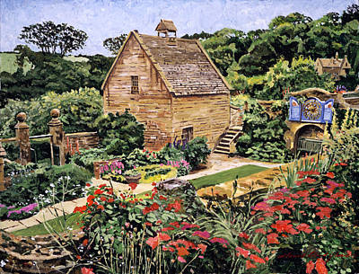 Garden Gates Painting - Country Stone Manor House by David Lloyd Glover