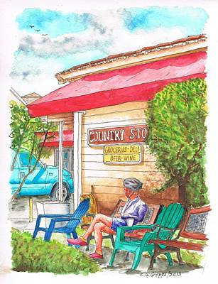 Window Bench Painting - Country Store In Los Olivos - California by Carlos G Groppa