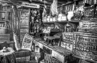 Country Store Supplies Black And White Art Print by Ken Smith