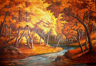 Country Stream In The Fall Art Print by Loxi Sibley
