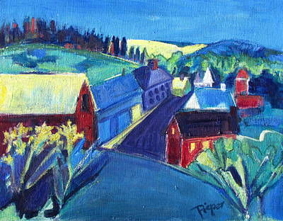 Red School House Painting - Country Village by Betty Pieper