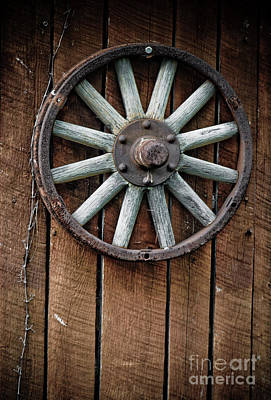 Cabin Window Photograph - Country Wagon Wheel by Jt PhotoDesign