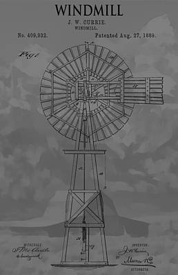 Teton Mixed Media - Country Windmill Patent by Dan Sproul