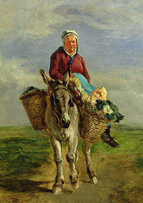 Country Woman Riding A Donkey Art Print by Constant-Emile Troyon