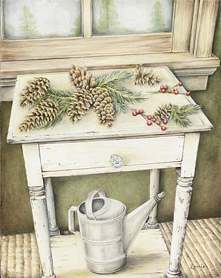Pine Needles Drawing - Country Woods Table by Lorrie Anne Minicozzi