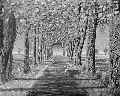 Art Print featuring the painting Country.fall.bw by Viktor Lazarev