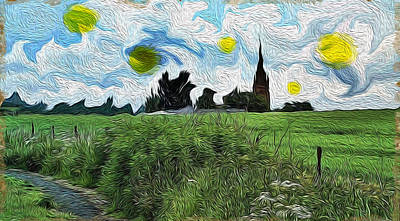 Art Print featuring the digital art Countryside Impressioniism by Mary M Collins