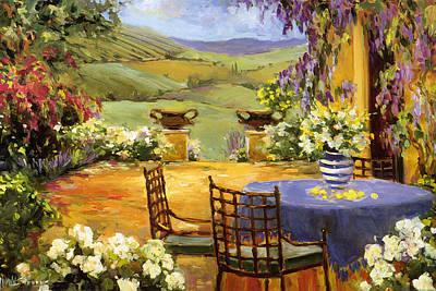 Italy Farmhouse Painting - Countryside Terrace by Allayn Stevens