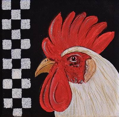 Painting - Countrywhite Rooster by Cindy Micklos