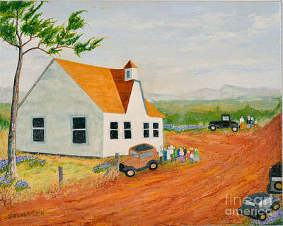 Painting - County Church In 1933 Tennessee by Jack Hedges