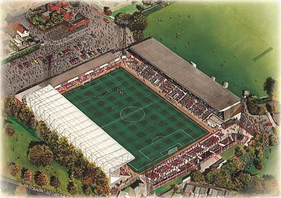 County Ground - Swindon Town Art Print by Kevin Fletcher