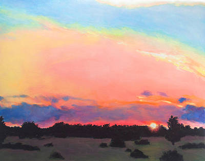 County Road Sunset Art Print by Charles Wallis