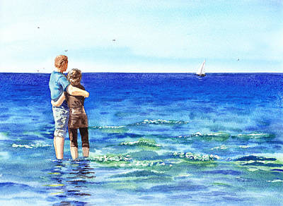 Couple And The Sea Art Print