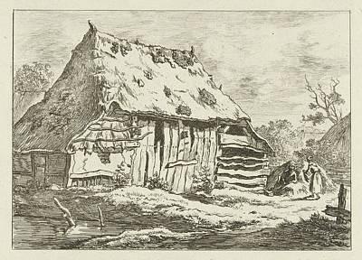 Old Barn Drawing - Couple At A Barn, Print Maker Carel Lodewijk Hansen by Artokoloro