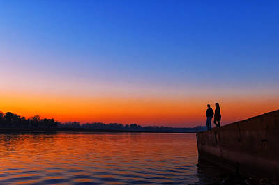 River Scenes Photograph - Couple At Dusk by Svetlana Sewell