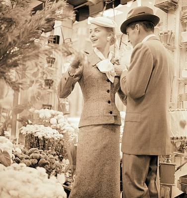 Fashion Photography Photograph - Couple At Flower Market by Horst P. Horst