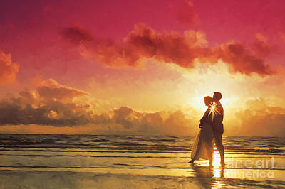 Beach Painting - Couple At Sunset On The Beach by Tim Gilliland