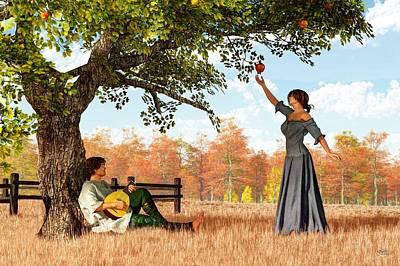 Playful Digital Art - Couple At The Apple Tree by Daniel Eskridge